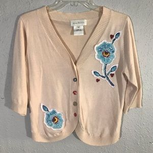 Susan Bristol Embroidered Patch Cardigan Sweater